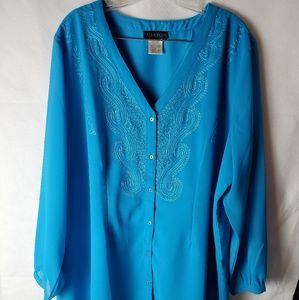 Ulla Popken plus size 20/22 blue blouse